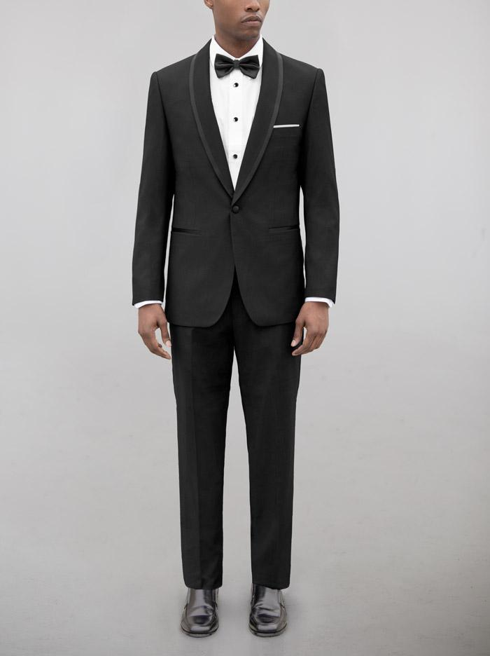 BIRDSEYE BLACK SHAWL LAPEL & BLACK TRIM TUXEDO (coming soon)