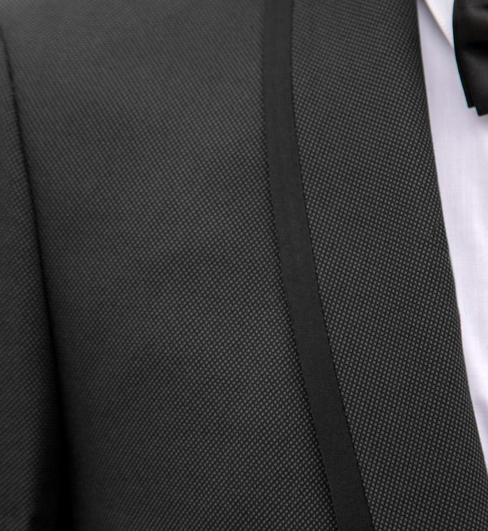 Charcoal Grey Shawl Lapel Tuxedo With Black Trim