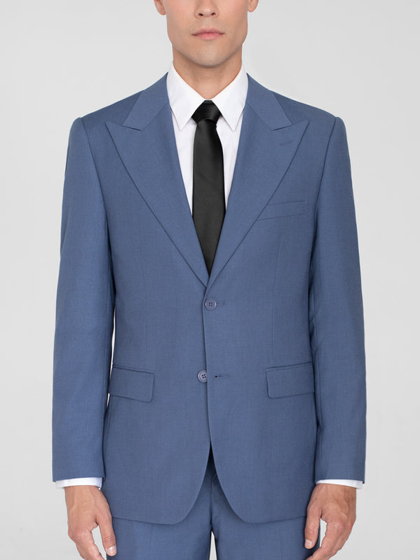 SLATE BLUE TWO BUTTON WIDE LAPEL TR SUIT