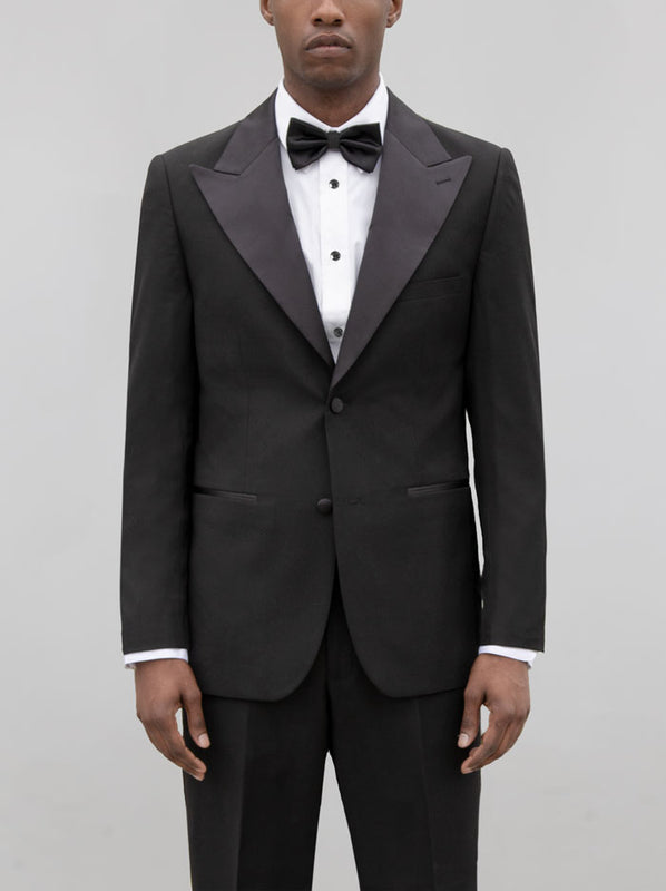 BLACK TUXEDO WITH WIDE LAPEL