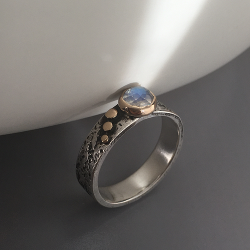 Rainbow Moonstone Silver and Gold Ring on edge view