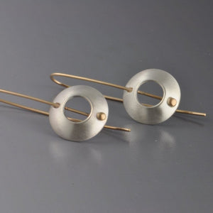 bullseye earrings in sterling silver and 14k gold photo #1