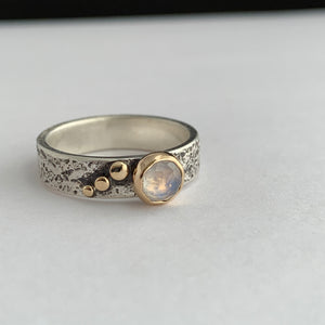 rainbow moonstone gemstone ring with sterling silver and gold