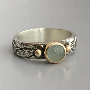 aquamarine gemstone ring with 14k gold and sterling silver