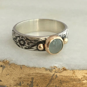 aquamarine engagement ring with sterling silver and 14k gold