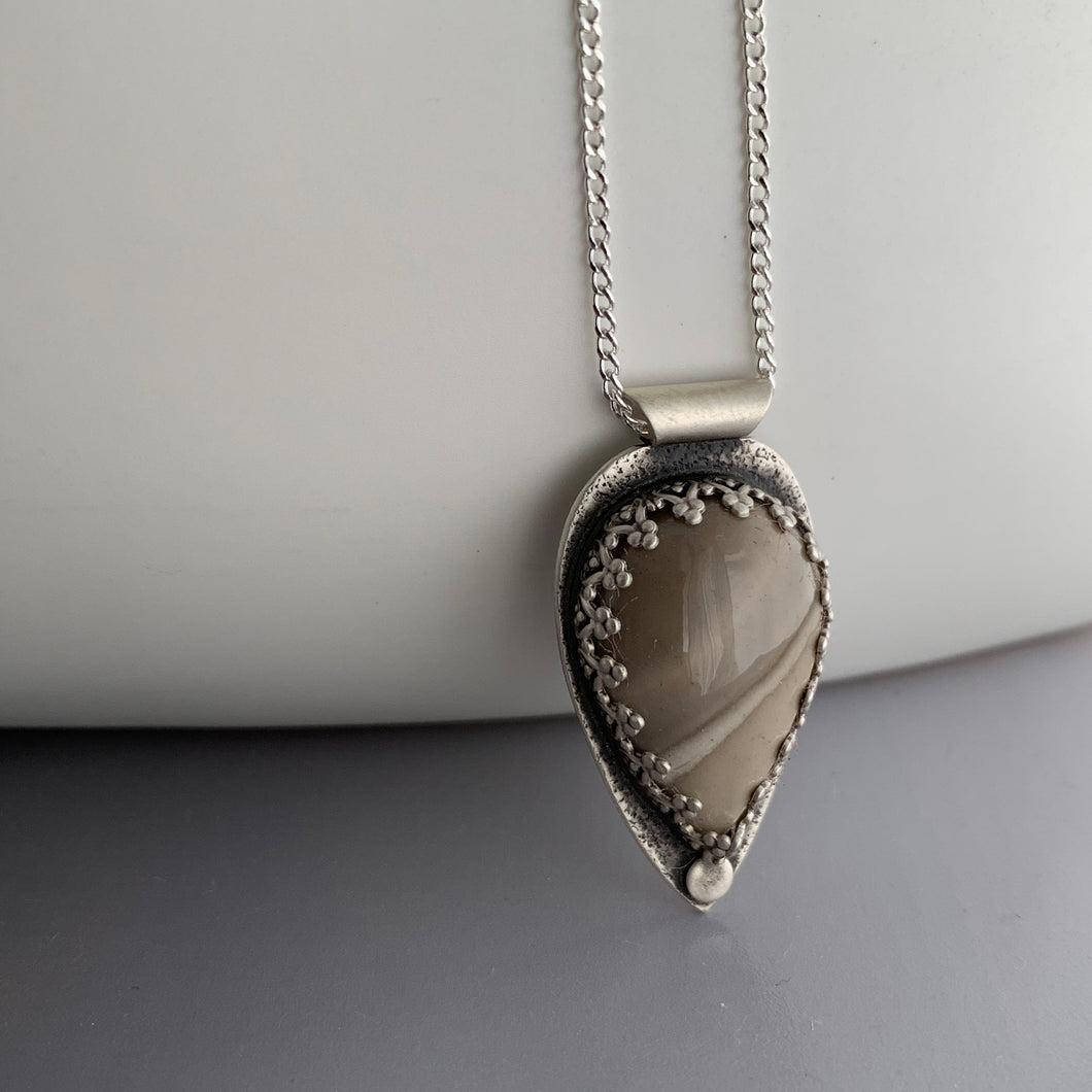 sterling silver pendant with flint stone and silver chain