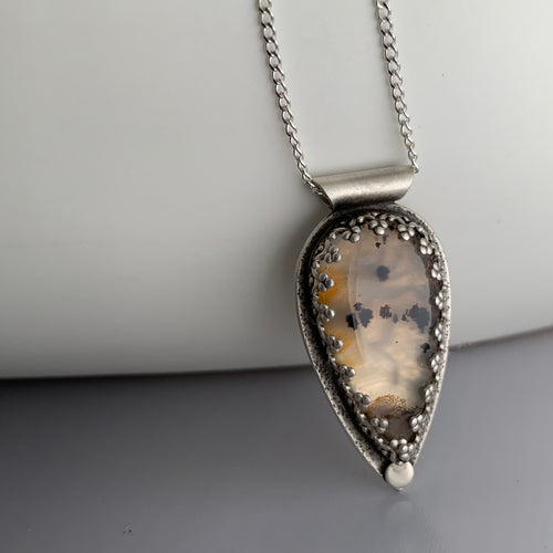 montana agate stone in teardrop sterling silver setting