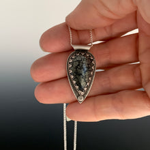 black and silver speckled marcasite in silver pendant
