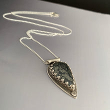 silver necklace with marcasite stone on silver curb chain