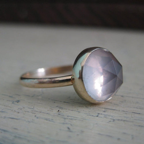 pink rose quartz and 14k gold ring photo #1
