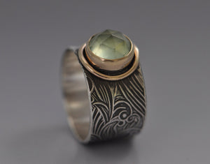 prehnite ring with silver band and gold setting