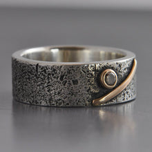 chunky silver band ring with 14k gold and diamond rough textured