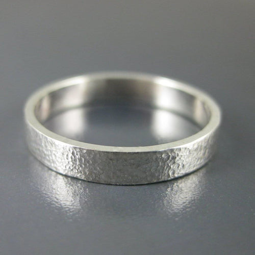 silver hammered ring wedding band 3 mm wide and 1 mm thick