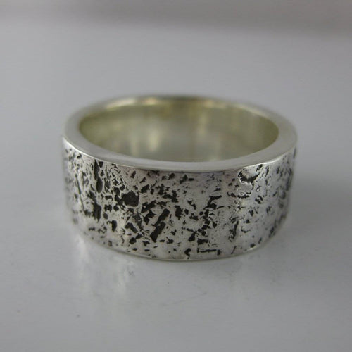 sterling silver rough textured wedding band ring