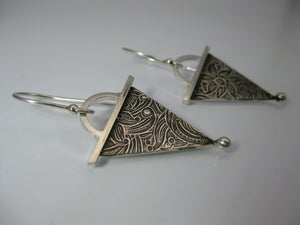 geometric triangle silver dangle earrings photo #2