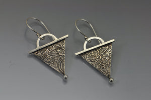 geometric triangle silver dangle earrings photo #3