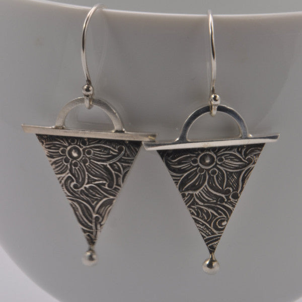 geometric triangle silver dangle earrings photo #1