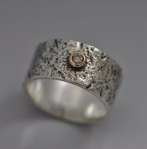 silver textured band with 3 mm brown diamond in 14k setting