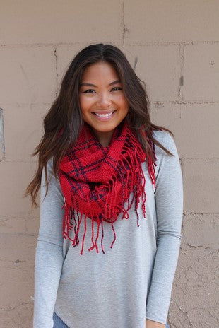 Black and Red Fringed Infinity Scarf
