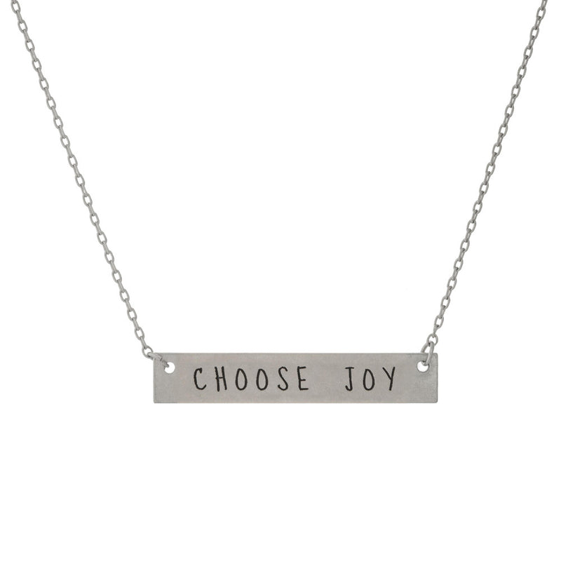 Choose Joy Matte Silver Necklace