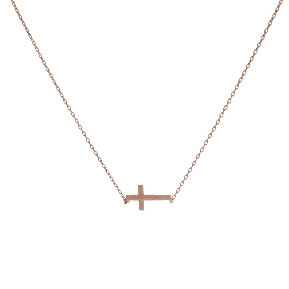 Small Rose Gold Cross Necklace