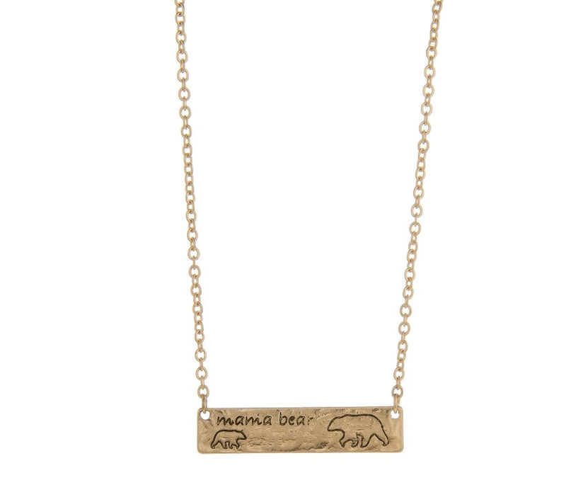 Mama Bear Gold Stamped Necklace