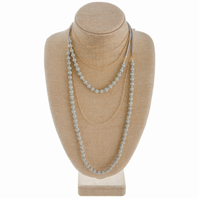 Soft Gray Layered Necklace