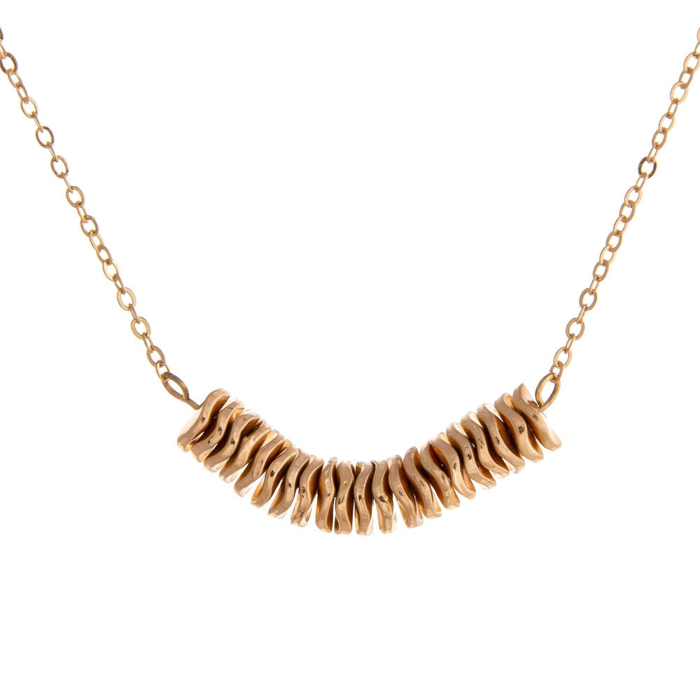 Dainty Chain with Metal Wavy Spacers - Gold