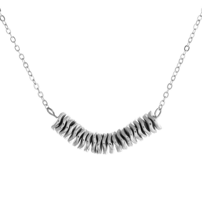Dainty Chain with Metal Wavy Spacers - Silver
