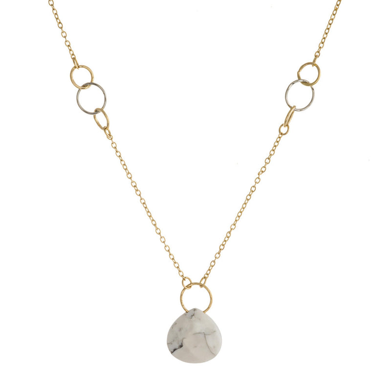 Dainty Natural Stone Pendant Silver and Gold