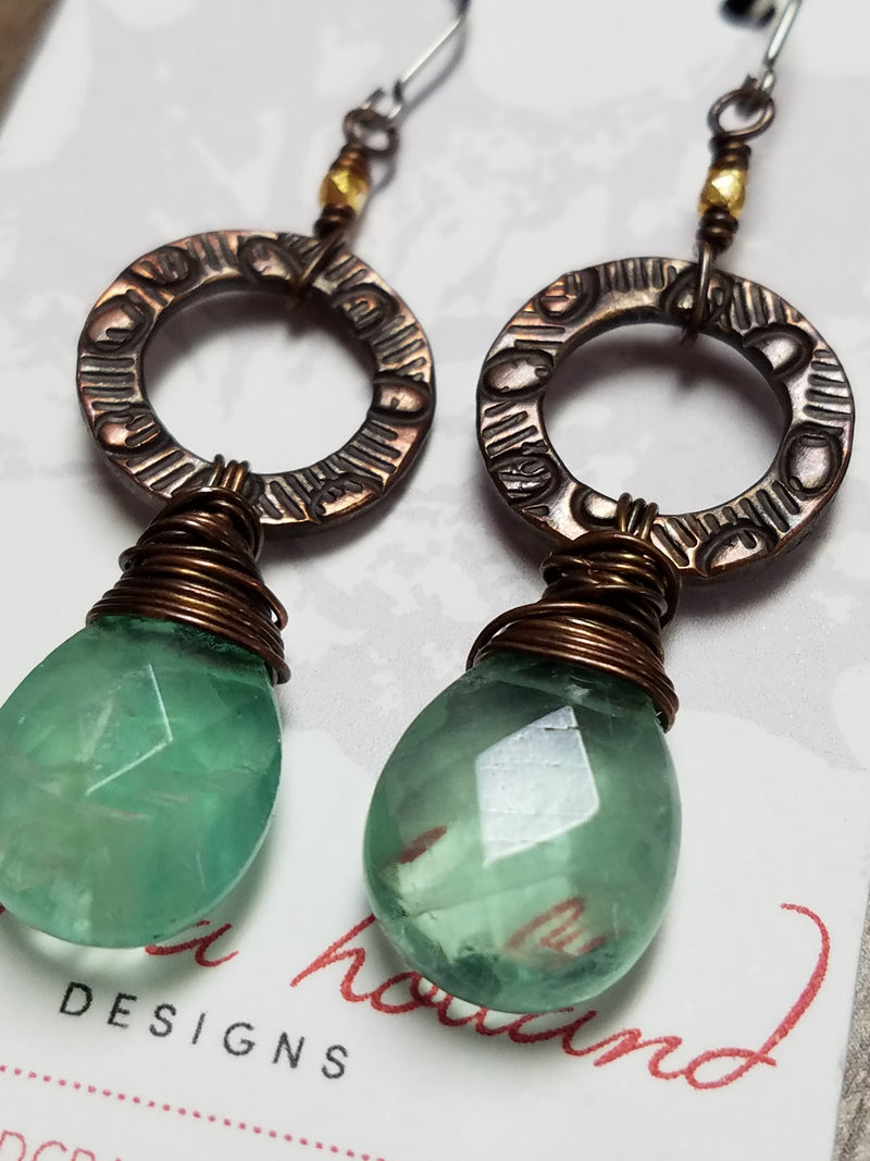 Fluorite - Copper Creations Earrings