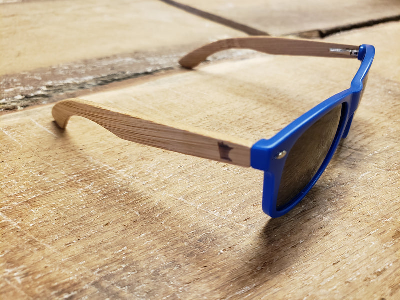 MN Royal Blue Bamboo Wood Sunglasses