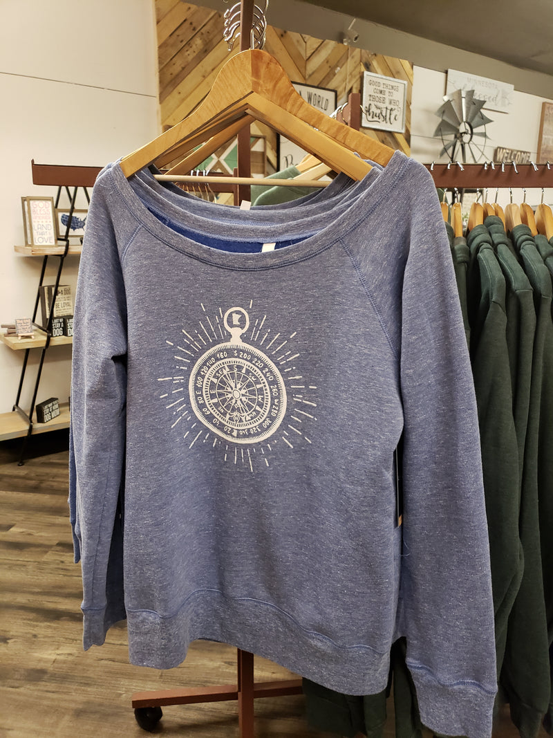 Beaming Compass Ladies Crew - Blue