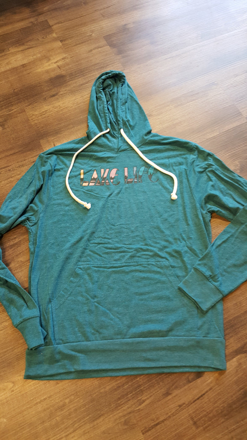 Lake Life Hooded Long Sleeve Tee - Teal