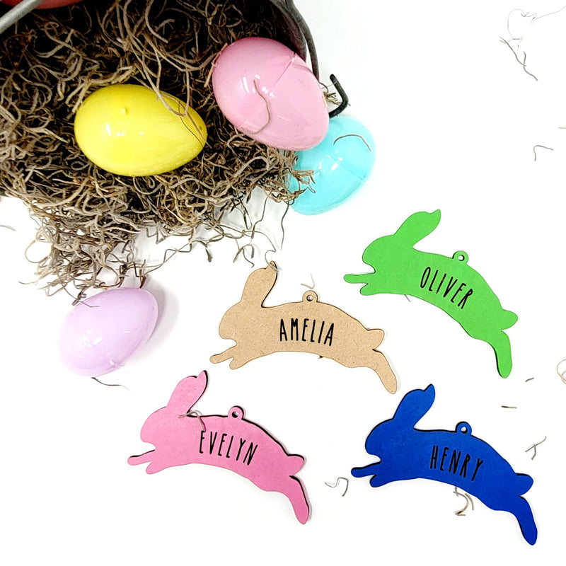 Jumping Bunny Easter Name Tag Ornament