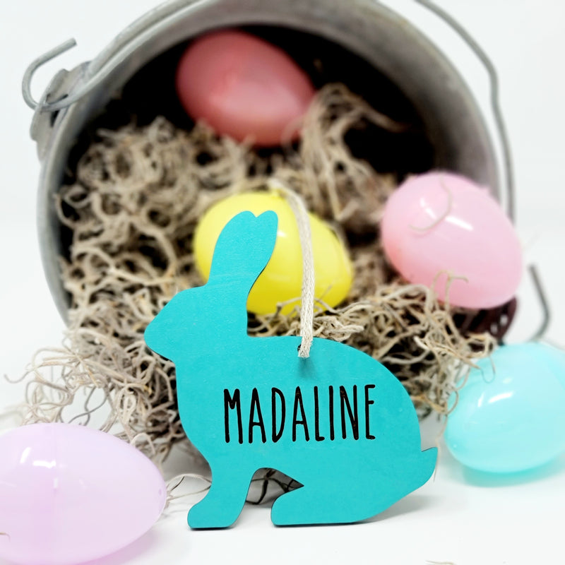 Happy Bunny Easter Name Tag Ornament