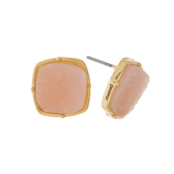Light Pink Faux Druzy Studs