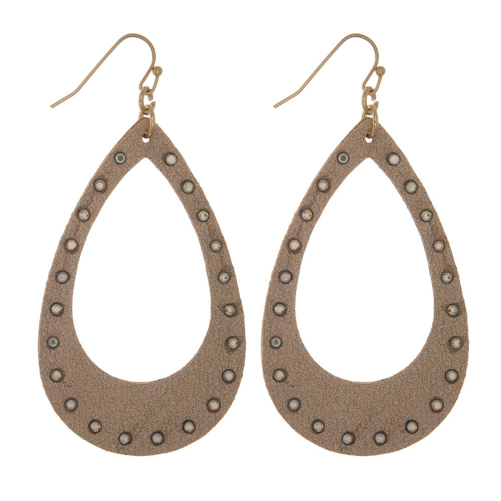 Metallic Leather Rhinestone Earrings