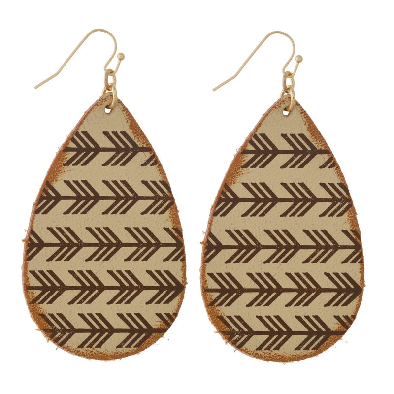 Leather Earrings with Arrow Print