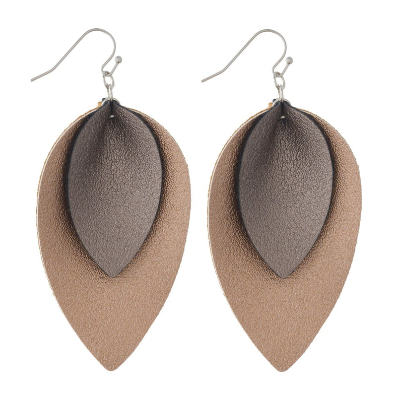 Double Metallic Leather Earrings