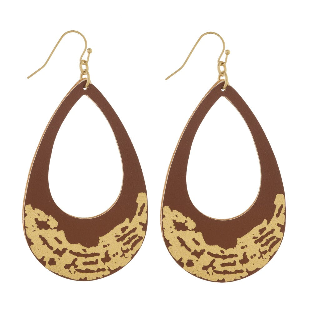 Brown Leather Earrings with Gold Accent