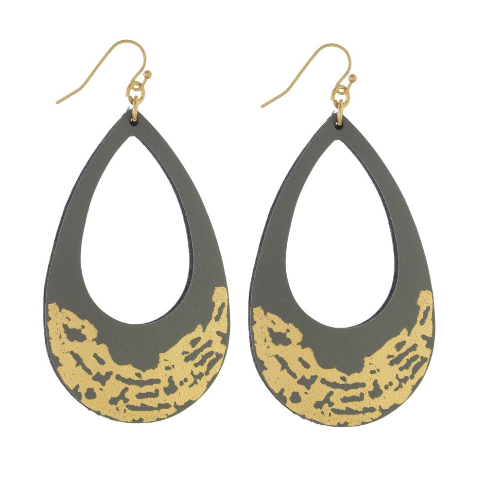 Gray Leather Earrings with Gold Accent