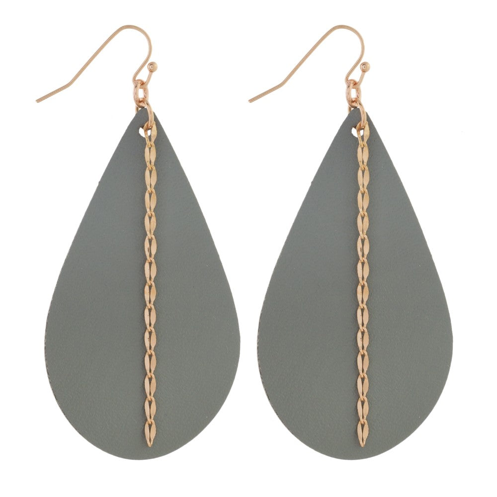 Gray Leather Earrings with Rose Gold Chain