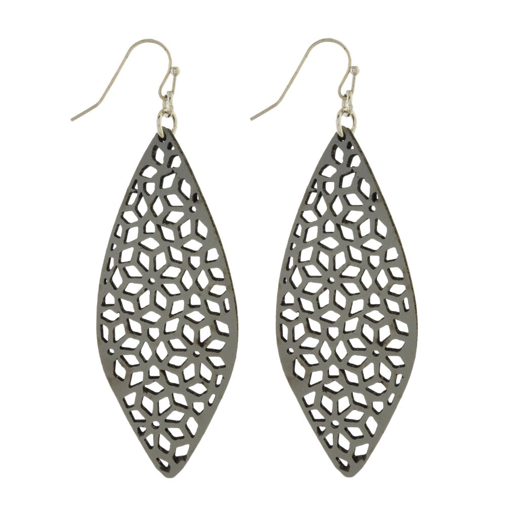 Gray Punch Leather Earrings