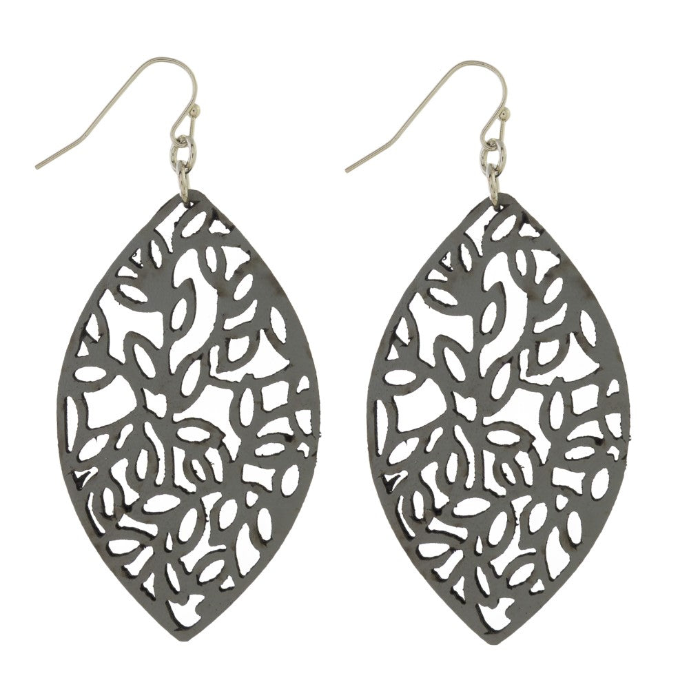 Gray Floral Punch Leather Earrings