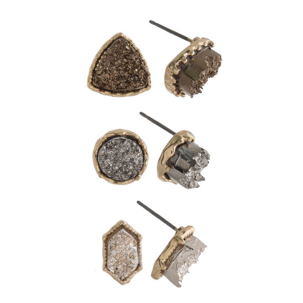 Three Pair Metallic Natural Stone Studs