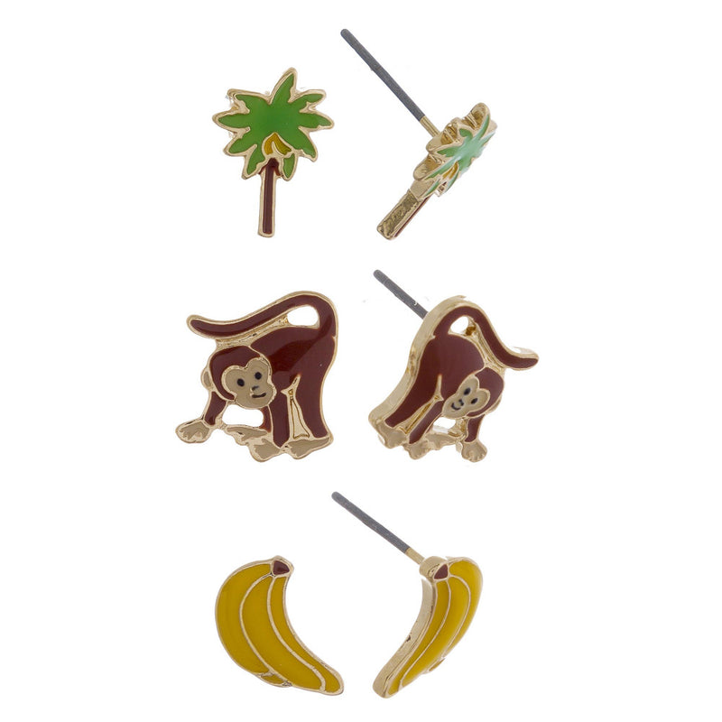 Monkey Business Stud Earring Set