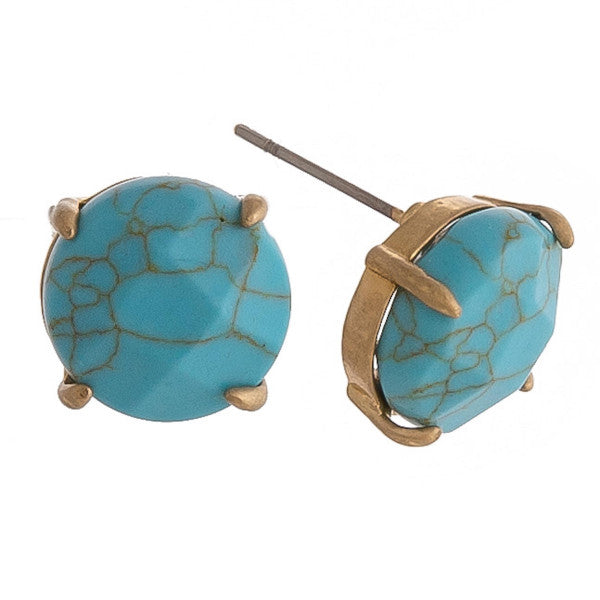 Turquoise Inspired Gold Stud Earrings