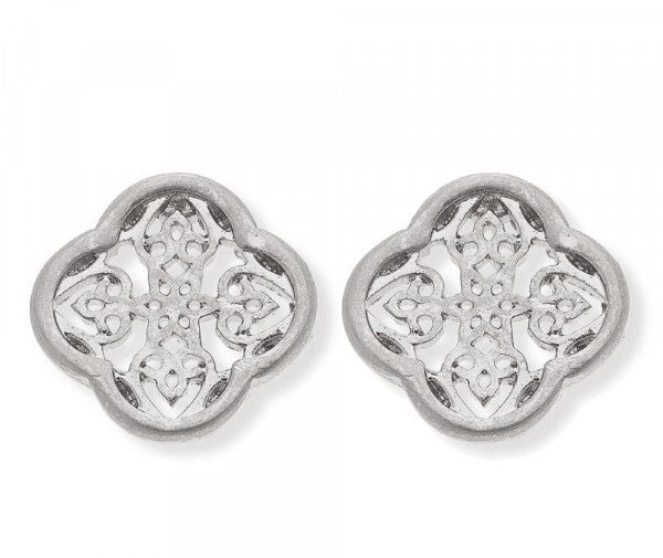 Clover Inspired Silver Stud Earrings