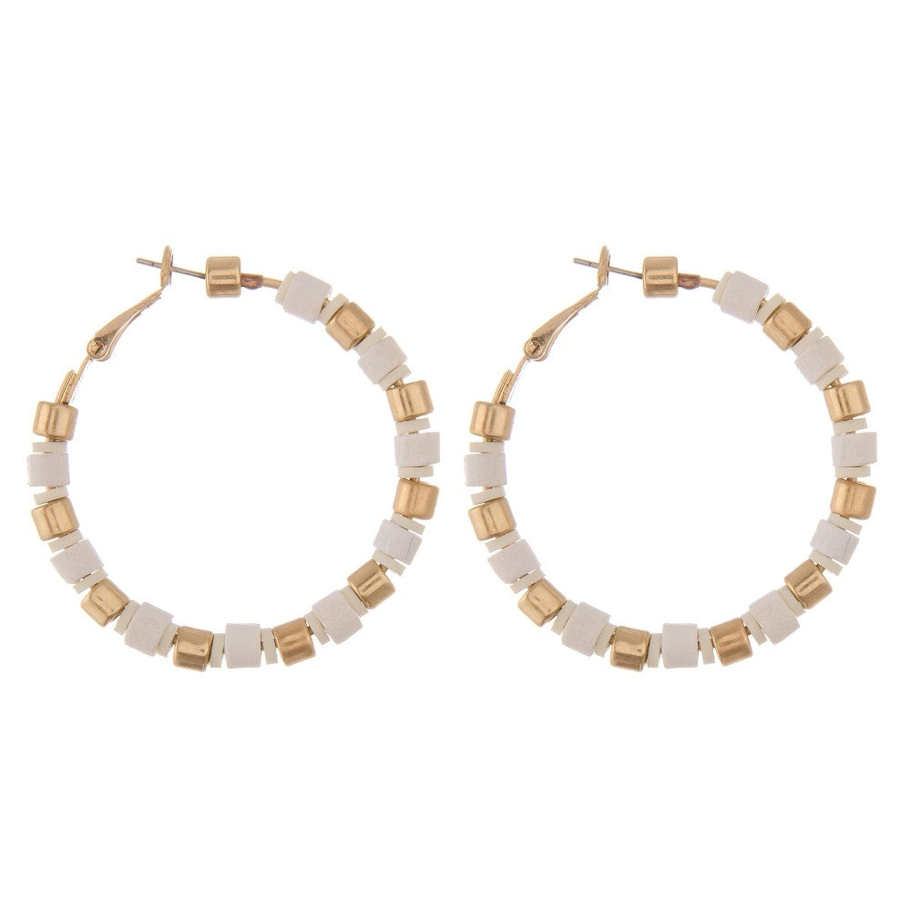 Gold and White Beaded Hoop Earrings